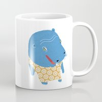 hippo Mugs featuring Hippo by Jennifer Nystedt