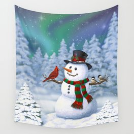 Cute Happy Christmas Snowman with Birds Wall Tapestry