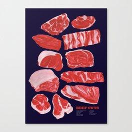 Beef Cuts (Dark Blue) Canvas Print