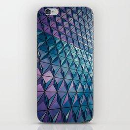 Neon Blue Purple Geometric Pattern iPhone Skin