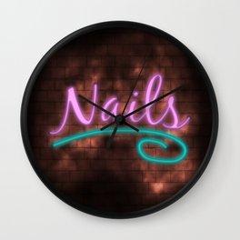 Neon Nails Sign Wall Clock