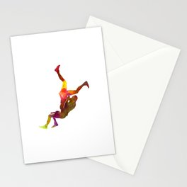 Wrestlers wrestling men 02 in watercolor Stationery Cards