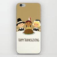 thanksgiving iPhone & iPod Skins featuring Happy Thanksgiving by Sara Showalter
