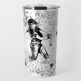 Girl Power- Women's Softball Silhouette on Silver Flake Travel Mug