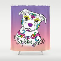 bull terrier Shower Curtains featuring Staffordshire Bull Terrier Sugar Skull by CraftyK9