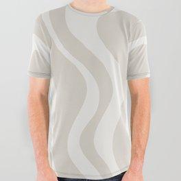 Liquid Swirl Contemporary Abstract Pattern in Mushroom Cream All Over Graphic Tee