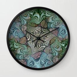 Labyrinth Mandala Blue Green Grey Wall Clock