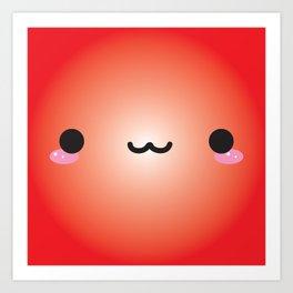 Kawaii Face (Red) Art Print