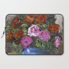 Blue Vase and Roses Laptop Sleeve