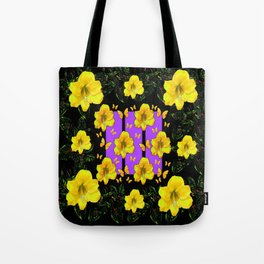 BLACK ART  YELLOW AMARYLLIS FLOWERS BUTTERFLY FLORAL Tote Bag