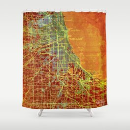 10-Chicago Illinois 1947, old map, orange and red Shower Curtain