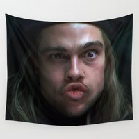 brad pitt Wall Tapestries featuring Brad Pitt - 12 Monkeys - Monkey Wrench by Saint Genesis