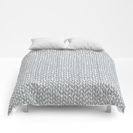 Hand Knit Light Grey Comforters