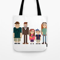 gravity falls Tote Bags featuring Gravity Falls 8-bit by Evelyn Gonzalez