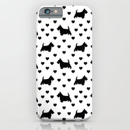 Cute Black Scottish Terriers (Scottie Dogs) & Hearts on White Background iPhone Case