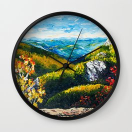 Landscape painting - Autumn dreams - by LiliFlore Wall Clock