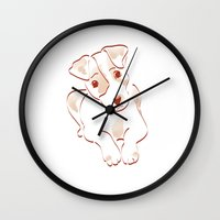 jack russell Wall Clocks featuring Jack russell by 1 monde à part