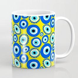 Mediterranean Eye Pattern Yellow and Blue Coffee Mug