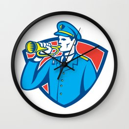 Soldier Blowing Bugle Crest Wall Clock