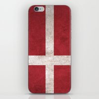 denmark iPhone & iPod Skins featuring Denmark Flag (Vintage / Distressed) by Patterns
