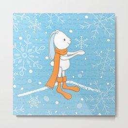 Bunny and Snowflakes Metal Print
