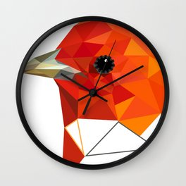 Orange Bird Geometric art Wall Clock