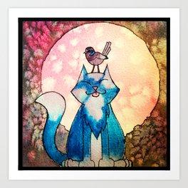 Mooncat in watercolour Art Print