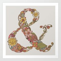 ampersand Art Prints featuring Ampersand by Valentina Harper