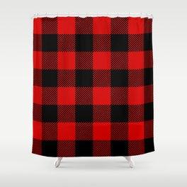 Red Lumberjack Pattern Shower Curtain