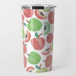 Watercolor artsy red green apple fruit pattern Travel Mug