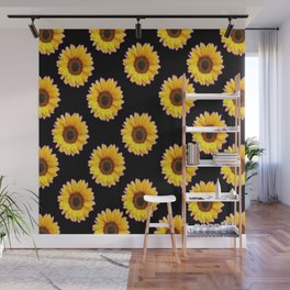 Black Color Sunflowers Pattern  Art Wall Mural
