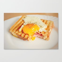 Toast with fried egg Canvas Print