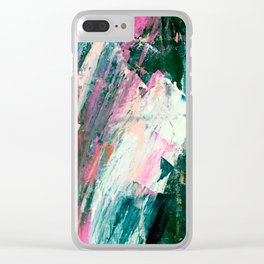 Meditate [2]: a vibrant, colorful abstract piece in bright green, teal, pink, orange, and white Clear iPhone Case