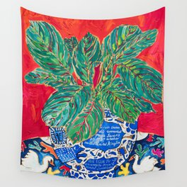 Prayer Plant in Blue-and-White Pot on Swan Table Cloth After Matisse Painting Wall Tapestry