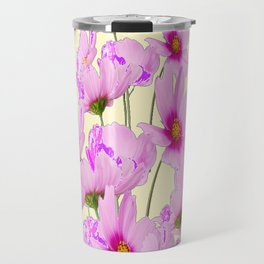 PINK COSMOS GARDEN FLOWERS ON CREAM COLOR Travel Mug
