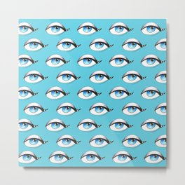 Blue Eyes Pattern On Blue Metal Print