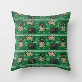 CHRISTMAS PUG Throw Pillow