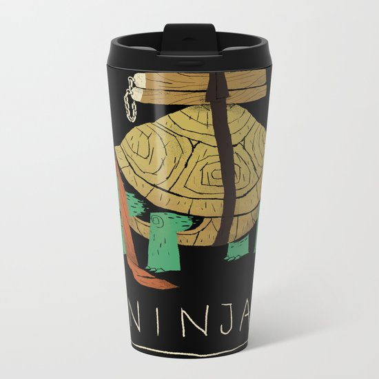 ninja - orange Metal Travel Mug
