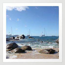 Sailing Boats at the Baths, BVI Art Print
