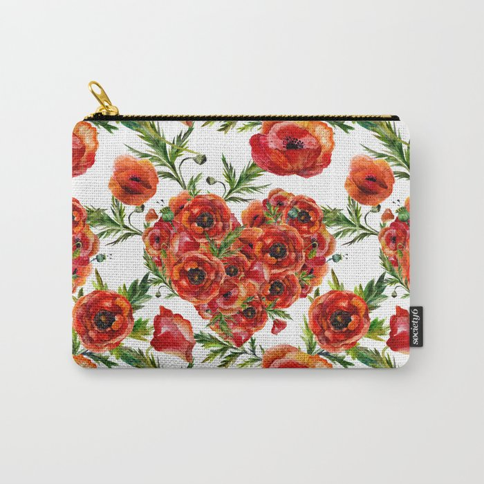 Poppy Heart pattern Carry-All Pouch