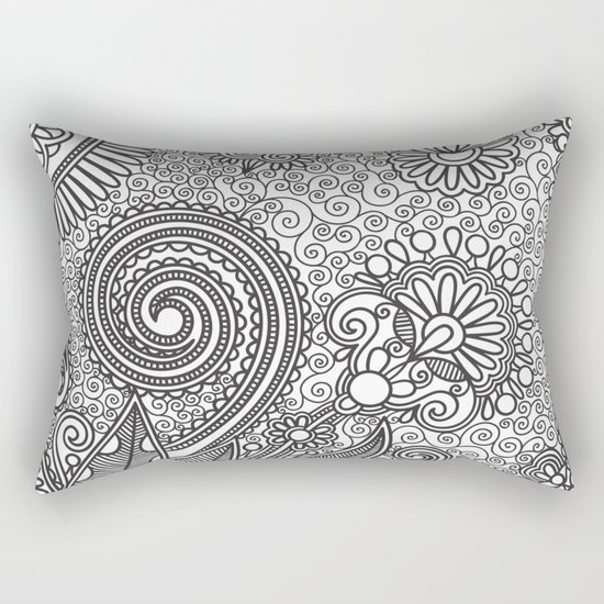 Floral B&W Rectangular Pillow