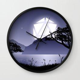 Violet Night Big D20 Dice Full Moon Tabletop RPG Landscape Wall Clock