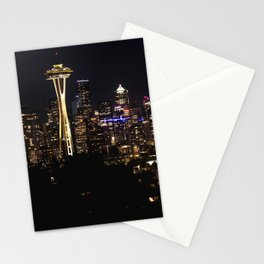 Seattle Cityscape At Night Stationery Cards