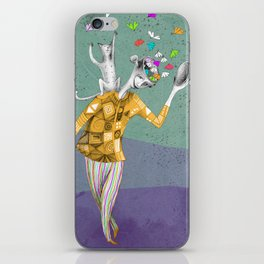 the imaginative robot clown and his cat friend iPhone Skin