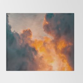 Beautiful Orange Whimsical Clouds Cotton Candy Texture Sky Cloud Photo Renaissance Painting Throw Blanket