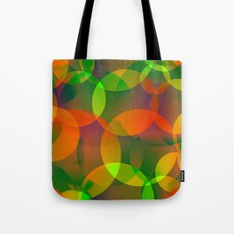 Abstract soap of blue and green bright circles and bubbles on a luminous background. Tote Bag