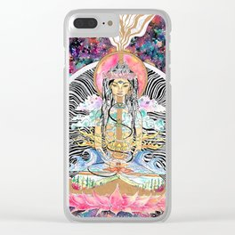 Elemental Goddess Watercolor Painting Clear iPhone Case