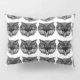 Owl Doodle hand drawn black on white background Pillow Sham