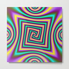 Angular Spiral in Violet Yellow and Turquoise Metal Print