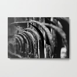 Rustic Fence-B&W Metal Print